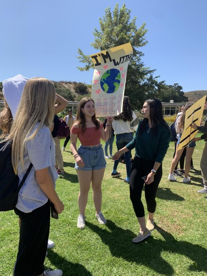Students follow Greta Thunberg's lead by walking out of their classes with hand-crafted signs and chants.