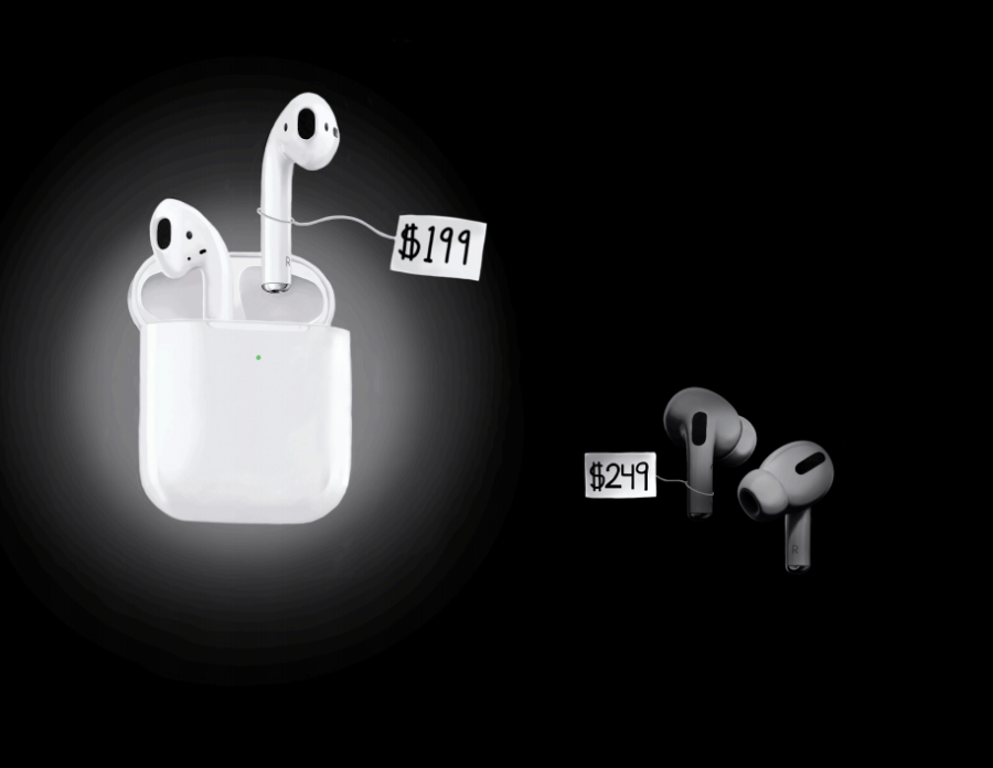The newest installment of the Airpods product line, the Airpods Pro, pictured with the charging case in the open position.