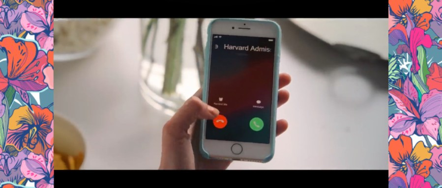 Phone ringing with a call from Harvard Admissions, a rendition of a scene from The Kissing Booth.