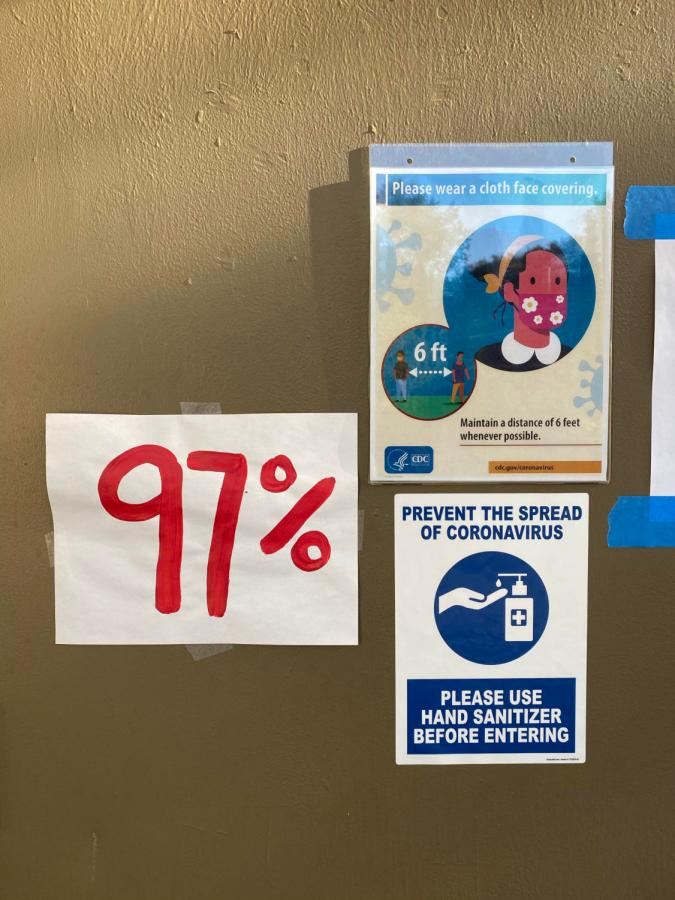 Adjacent COVID-19 safety signs is one of the posters posted around campus, representing the number of women who have experienced sexual harassment or assault, according to a report by UN Women United Kingdom