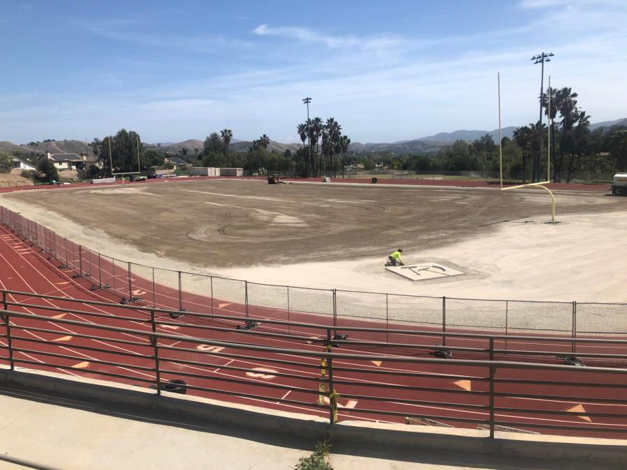 Stadium field resurfaced after 10 years of use