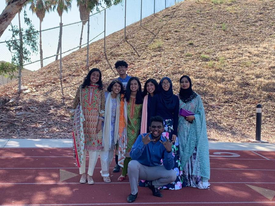 Senior Haniah Hamza and her group of friends during an Eid-al Fitr celebration. Hamza is the second person in the row. (Photo courtesy of Haniah Hamza)
