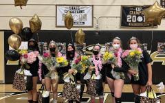 Emma Songco, Lexi Lewis Maestu, Maya Zilberstein, Marta Tassinari, Sarah Carroll and Bethanie Giniewicz celebrate senior night