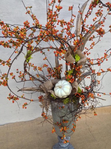 Fall Arrangement Using Bittersweet, Burlap, Pods