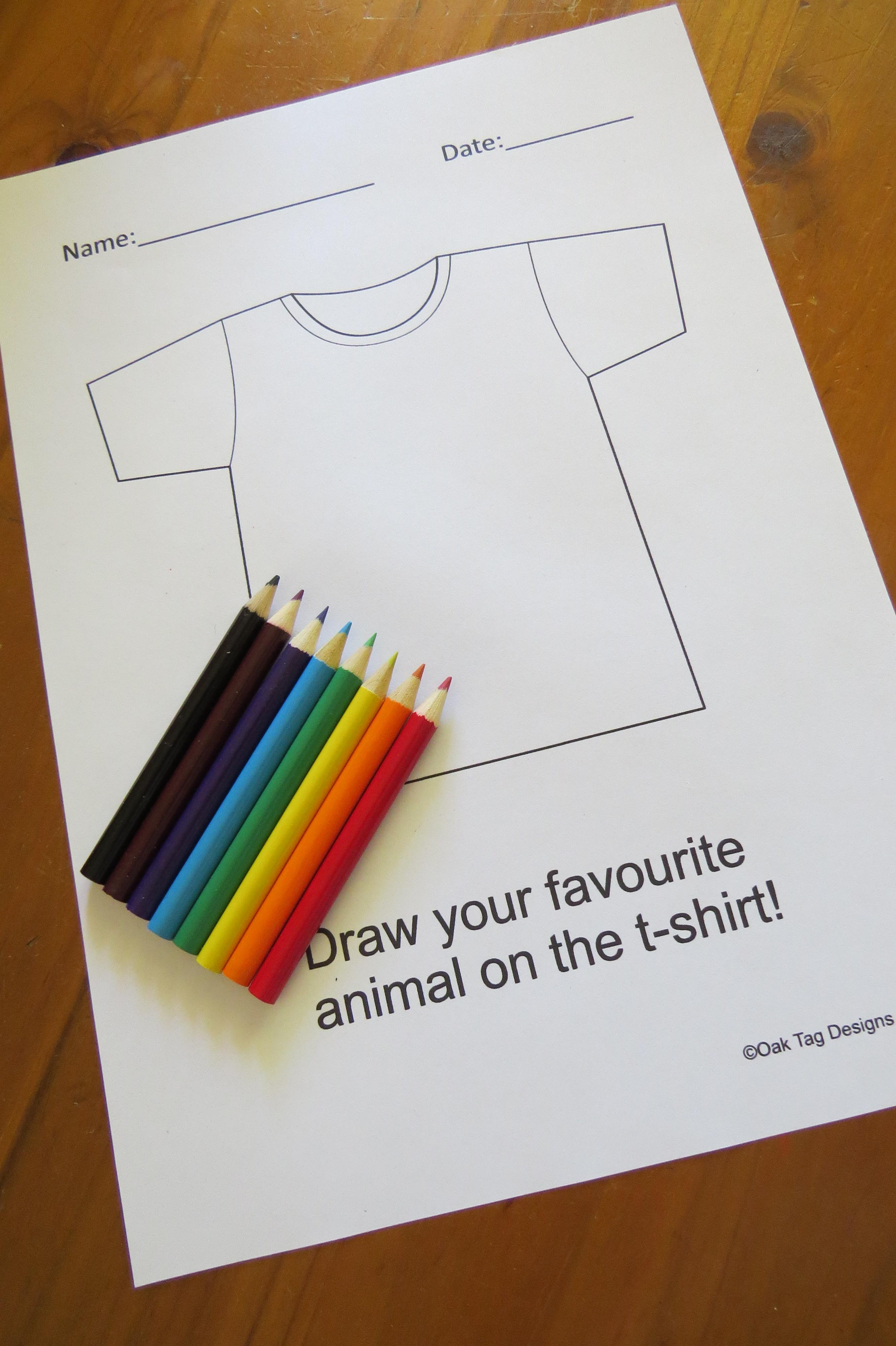Free Printable Kids T Shirt Worksheet