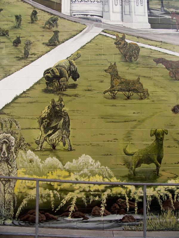 pet topiaries, pet topiary mural, stefen art mural, oakland mural art