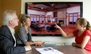 happy clients viewing realistic 3D concept design