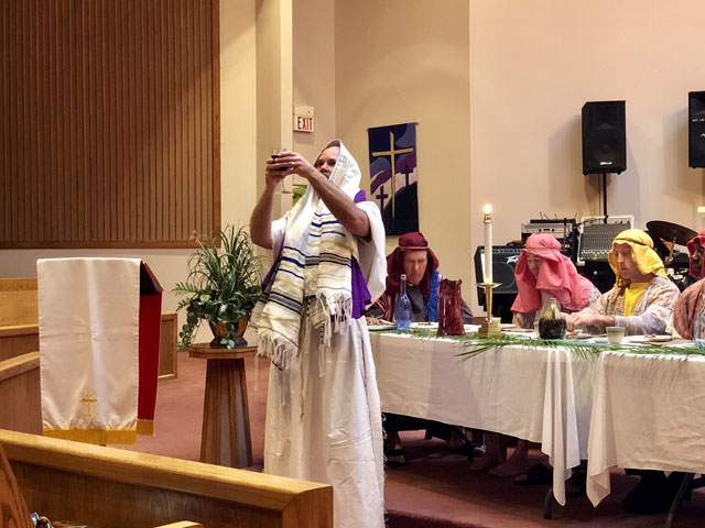 Maundy Thursday Ceremony, Rabbi with Wine Glass, Oakwood United Methodist Church, Lubbock Texas