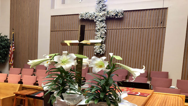 Easter Service, Lilies Double Cross, Oakwood United Methodist Church, Lubbock Texas