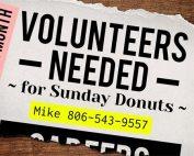 Volunteers Needed, Sunday Donuts and Coffee | Oakwood United Methodist Church, Lubbock Texas
