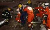 Hotel desabou com cerca de 70 pessoas em quarentena pelo coronavírus Foto: STR / AFP