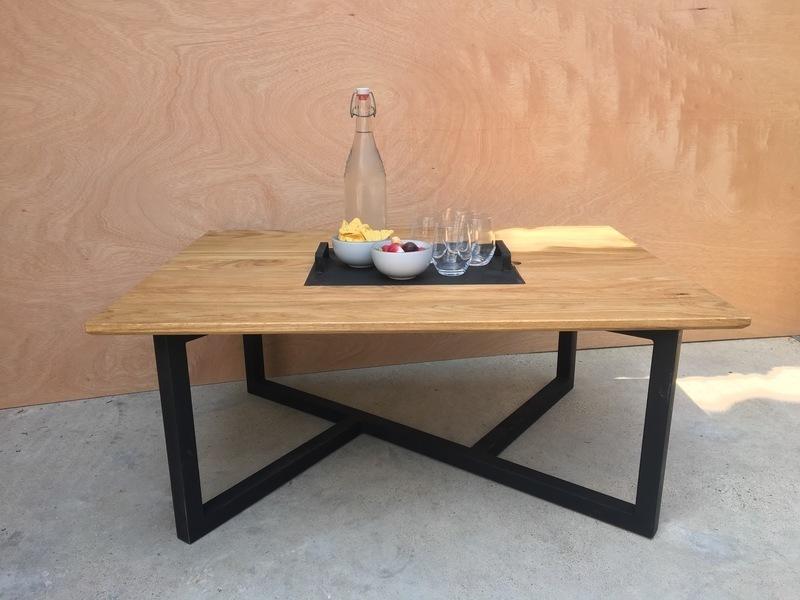 table basse acier chene massif oui