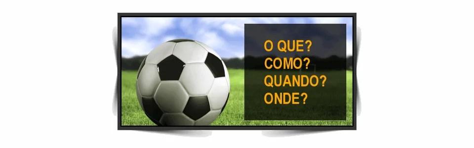 Uma bola de futebol em um gramado; à direita está escrito as perguntas citadas no texto acima