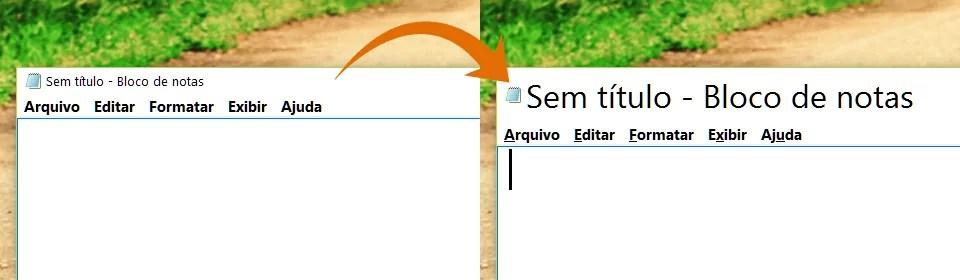 Comparativo: à esquerda uma barra de título com a fonte padrão e à direita uma barra de título com a fonte ampliada