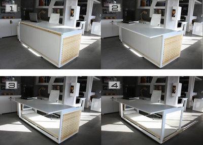 Etapele de transformare a patului in birou si invers