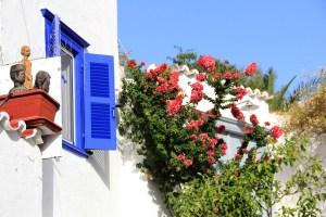 Blue windows in Greece