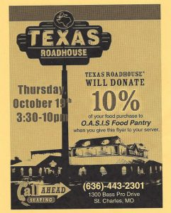 graphic regarding Texas Roadhouse Printable Coupons referred to as Fundraiser at Texas Roadhouse Oct 19 - Oasis Food stuff Pantry