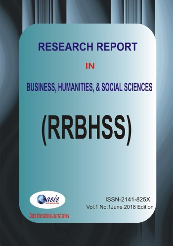 Research Report in Business, Humanities and Social Sciences Vol. 1 No.1