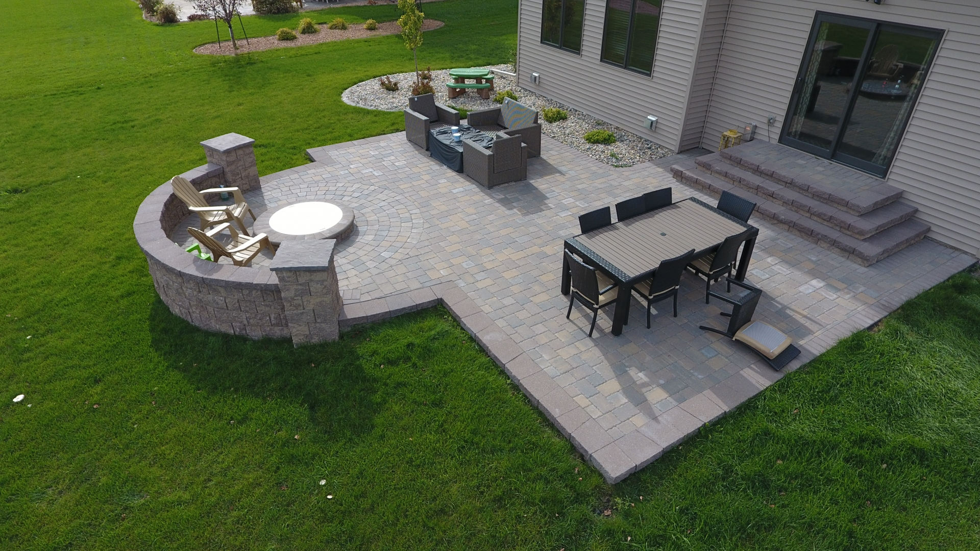 Backyard Fire Pit with Seat Wall and Paver Patio - Oasis ... on Pavers Patio With Fire Pit id=58029