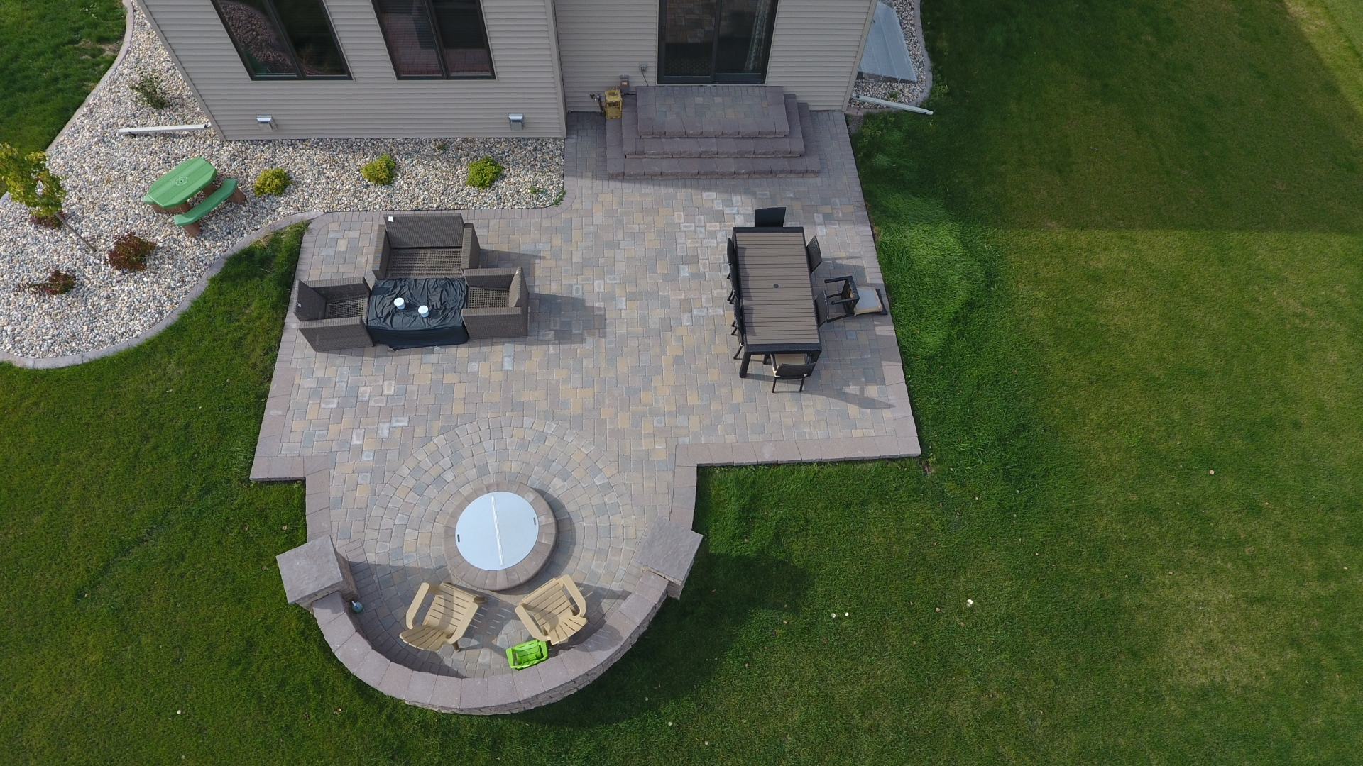 Backyard Fire Pit with Seat Wall and Paver Patio - Oasis ... on Paver Patio Designs With Fire Pit id=47433