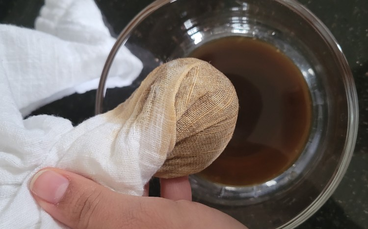 Drain excess water from your coffee grounds