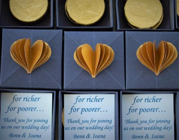 Wedding-Favour-Boxes-Handmade-Origami-Heart-For-Richer-Or-Poorer-Navy-Blue-Gold-Chocolate-Coin-Oast-House-Gifts