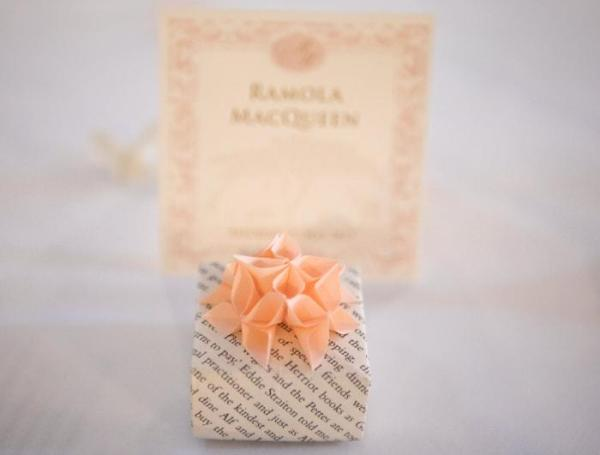 Wedding-Favours-Bookpage-Boxes-Origami-Peach-Flowers-Handmade-Origami-Boxes-Jeff-Oliver-Photography-Closeup-Oast-House-Gifts