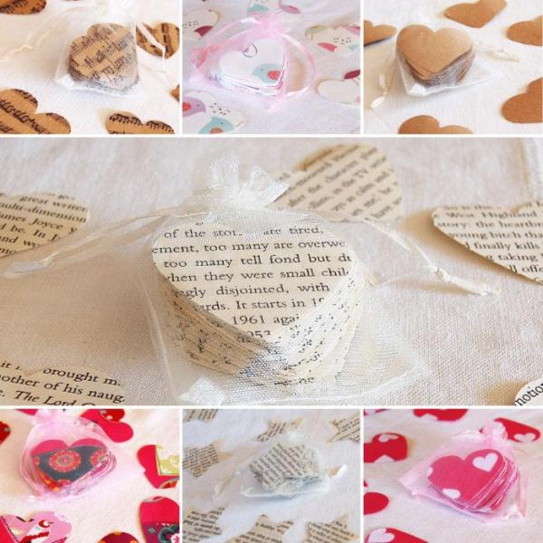 Wedding-Party-Table-Scatters-Paper-Confetti-Hand-Stamped-Hearts-Stars -Gift-Wrap-collage-Oast-House-Gifts