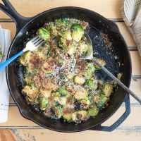 Bacon Brussels Sprouts with Garlic Parmesan Cream