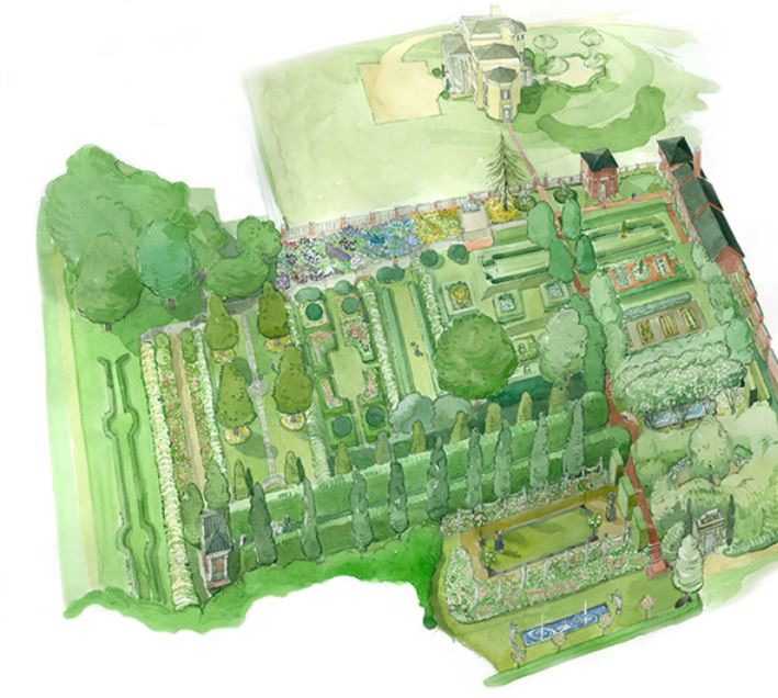An overhead shot of the walled garden