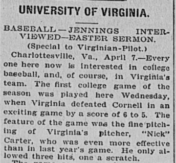University of Virginia newspaper clipping describing Virginia defeating Cornell 6 to 5.