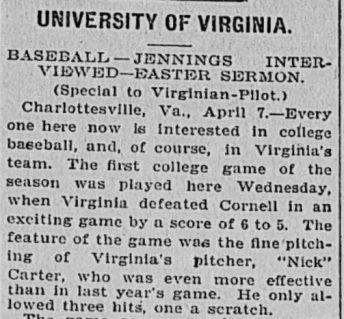 University of Virginia newspaper clipping describing Virginia defeating Cornell 6 to 5.