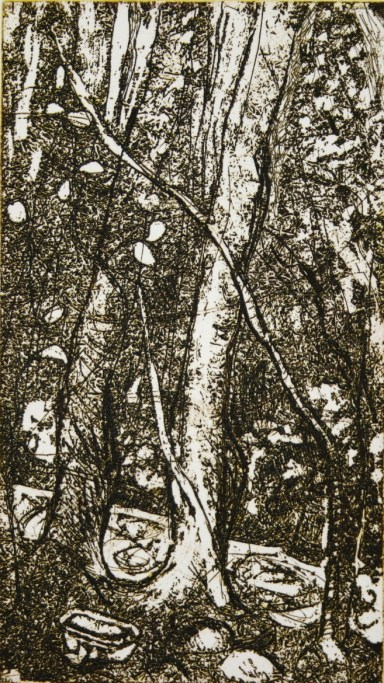 bathe-under-the-trees-under-the-stars-2011-copper-plate-etching-18-5x10-4cm-edition-of-100-crimsonblack