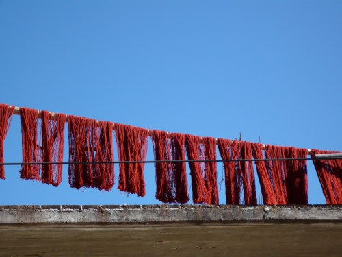 Yarn drying on rooftop, Teotitlan del Valle, Oaxaca