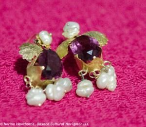 Intense purple, pearls, 10k gold, $250.