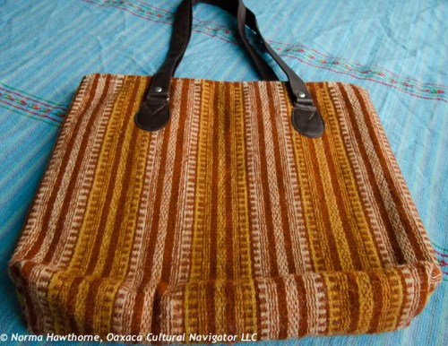 "Shoulder bag, approx. 14""x16"" with leather straps, $85 + shipping.  Dyed with wild marigold and nuts."