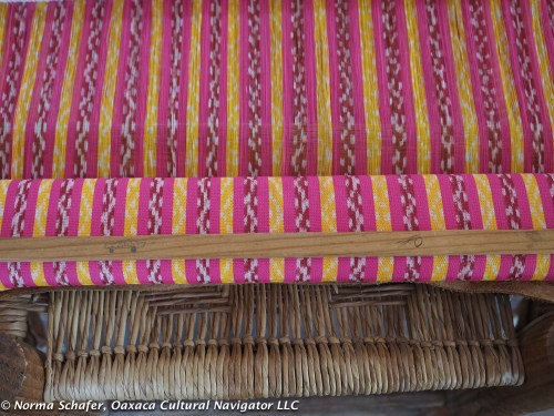 Ikat rebozo handwoven on the back strap loom from Rapacejos gallery