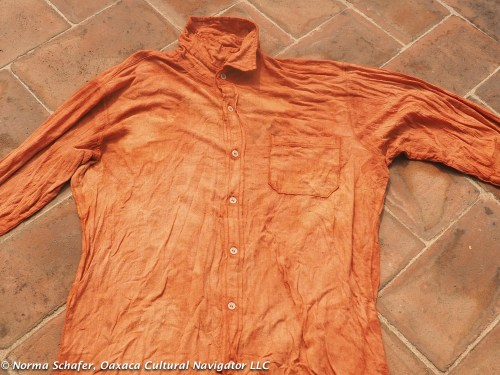 Elsa dyed this cotton shirt with mahogany