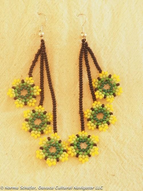 """Huichol hand beaded earrings. 3"""" long. $28 USD"""