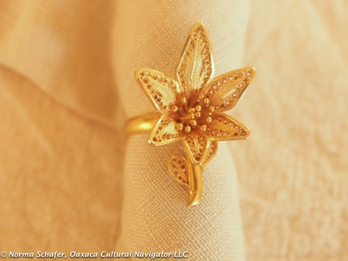 "10K Gold filigree ring, Veracruz, size 4-1/2, with 1"" flower, $95"