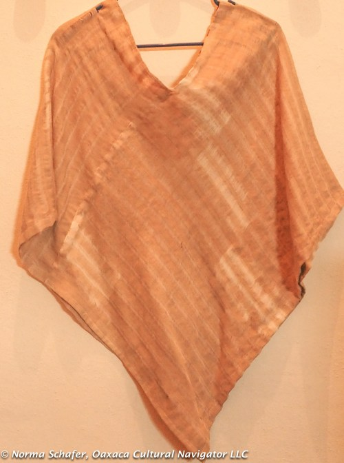 Hand-woven, nut-dyed quechquemitl with ikat dyed warp threads by Alfredo Orozco, $85 USD