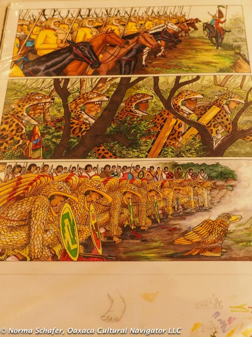 Hand-colored illustration of the Conquest. With codices footnotes.
