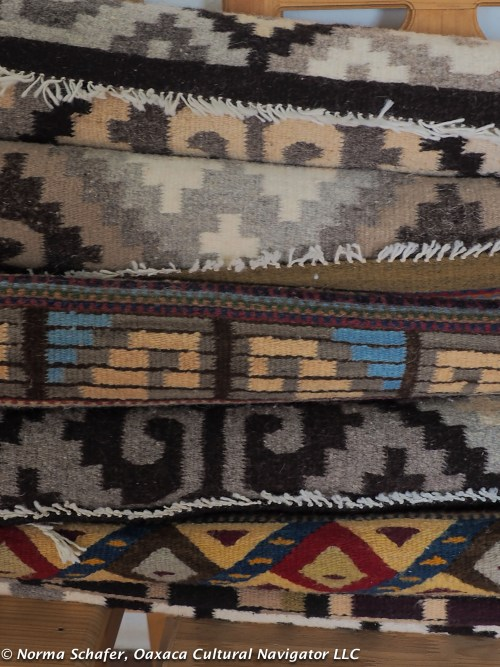 Selection of Teotitlan del Valle wool rugs from the tapestry loom