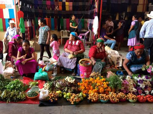Tlacolula market Muertos flower vendors, by Christophe Gaillot