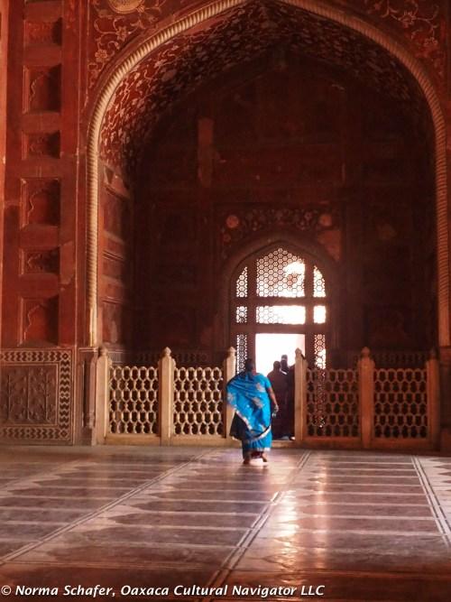 Marble floor of Taj Mahal mosque, in form of prayer rugs.