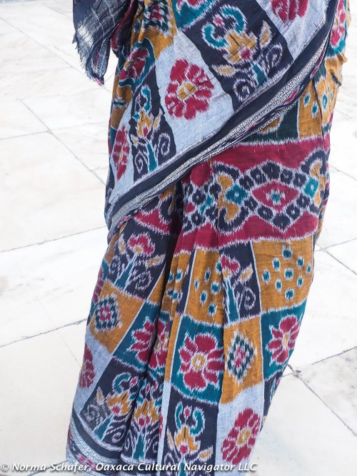 This saree is a fine quality cotton ikat with natural dyes from Orissa.