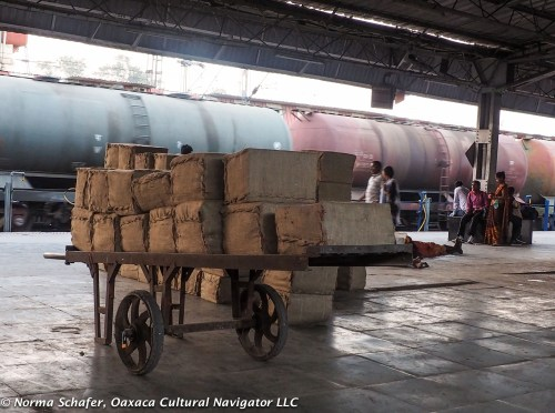 Bundles of commercial goods ready to load on the train.