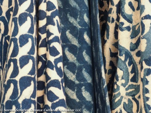 Indigo-dyed organic cotton block print from Rajasthan