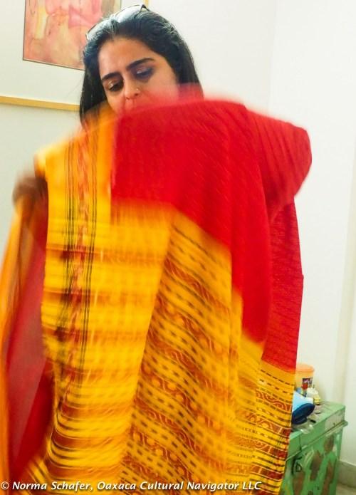 Aditi Prakash shows me how to pleat the sari