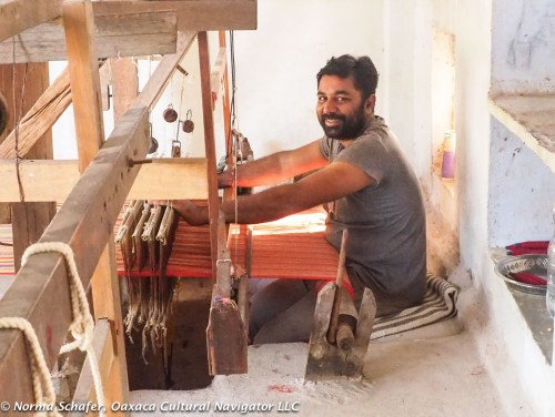 Bhujodi mashru weaver Babu Bhai, on flying shuttle pit loom